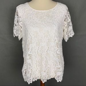 PHILOSOPHY White Floral Lace Overlay SS Top